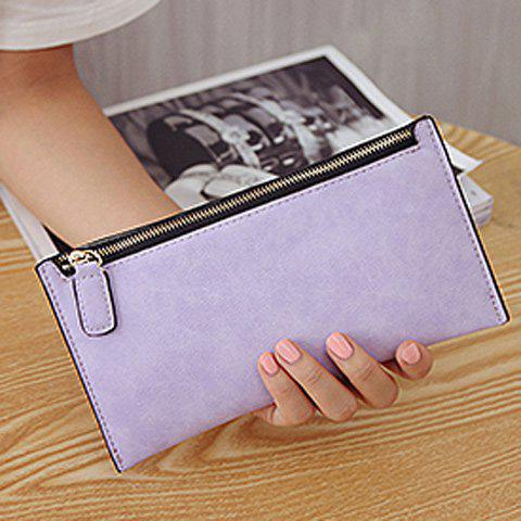 Hot PU Leather Zip Up Coin Purse - LIGHT PURPLE  Mobile