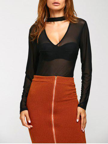 Trendy See-Through Long Sleeve Mesh Blouse