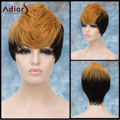 Sale Adiors Short Double Color Layered Full Bang Straight Synthetic Wig COLORMIX