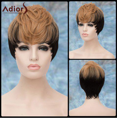 Fancy Adiors Short Double Color Full Bang Straight Synthetic Wig COLORMIX