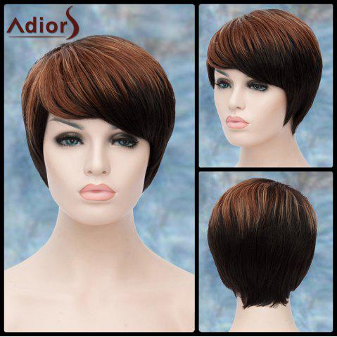 New Adiors Short Highlight Side Bang Straight Synthetic Wig COLORMIX
