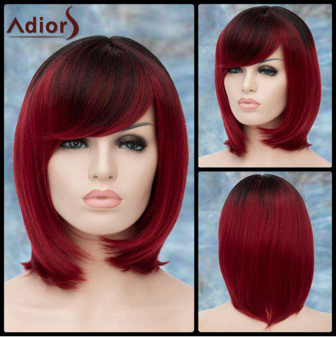 Online Adiors Short Ombre Oblique Bang Straight Bob Synthetic Wig