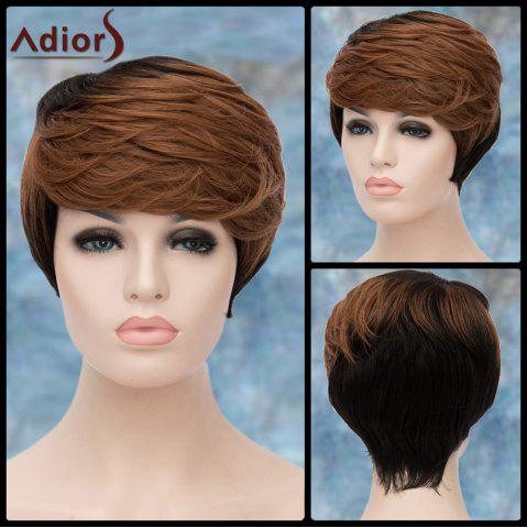 Latest Adiors Layered Short Highlight Oblique Bang Straight Synthetic Wig COLORMIX