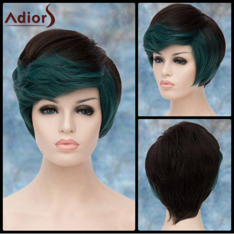 New Adiors Short Highlight Fluffy Oblique Bang Straight Synthetic Wig