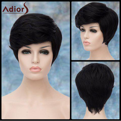 Trendy Adiors Short Fluffy Side Parting Straight Synthetic Wig BLACK BLUE