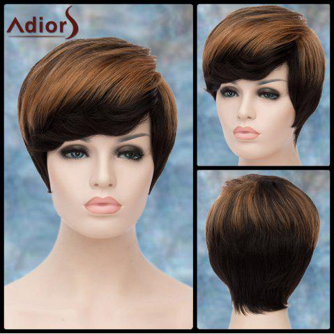 Shop Adiors Short Highlight Fluffy Side Bang Straight Synthetic Wig COLORMIX