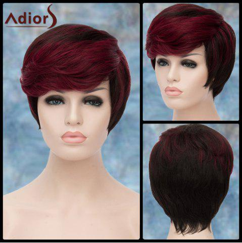 Sale Adiors Short Highlight Shaggy Side Bang Straight Synthetic Wig