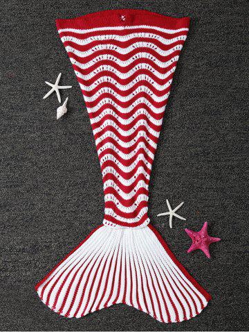 Color Splicing Striped Knitted Kid's Mermaid Tail Blanket - Red With White