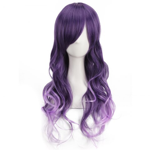 Online Long Purple Ombre Side Bang Wavy Cosplay Synthetic Wig - COLORMIX  Mobile
