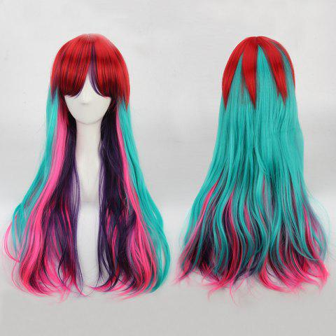Online Rainbow Long Full Bang Slightly Curled Cosplay Synthetic Wig