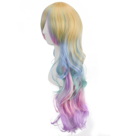 New Rainbow Long Side Bang Wavy Cosplay Synthetic Wig - COLORMIX  Mobile
