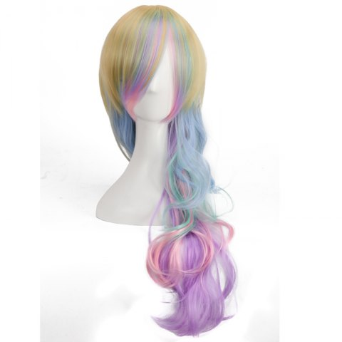 Outfits Rainbow Long Side Bang Wavy Cosplay Synthetic Wig - COLORMIX  Mobile