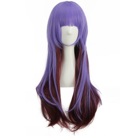 Shops Long Full Bang Straight Double Color Synthetic Cosplay Wig - BLUE + BROWN  Mobile
