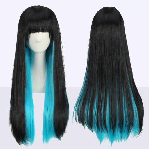 Stunning Long Full Bang Straight Double Color Synthetic Cosplay Wig - Black And Blue