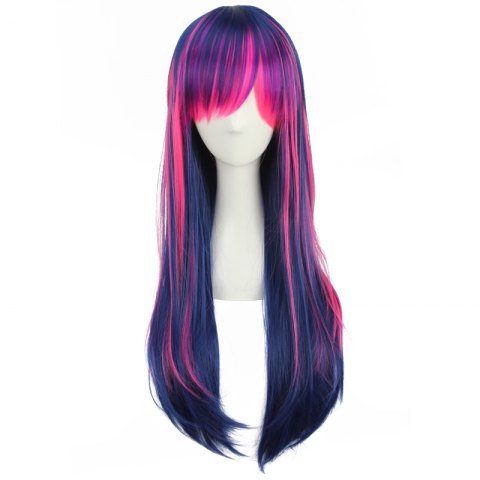 Discount Stunning Long Neat Bang Straight Double Color Synthetic Cosplay Wig - COLORMIX  Mobile