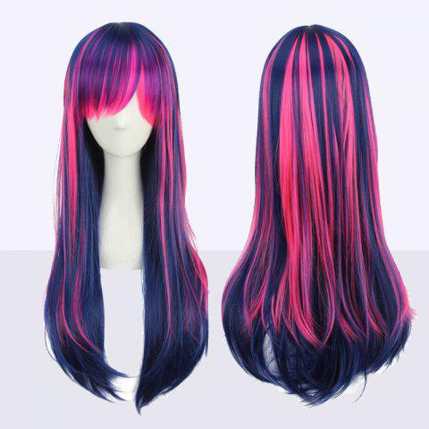 Online Stunning Long Neat Bang Straight Double Color Synthetic Cosplay Wig COLORMIX