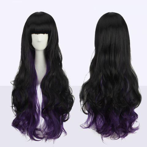 Discount Stunning Long Neat Bang Wavy Double Color Synthetic Cosplay Wig BLACK/PURPLE
