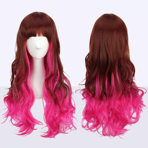 Outfits Long Neat Bang Fluffy Wavy Double Color Synthetic Cosplay Wig COLORMIX