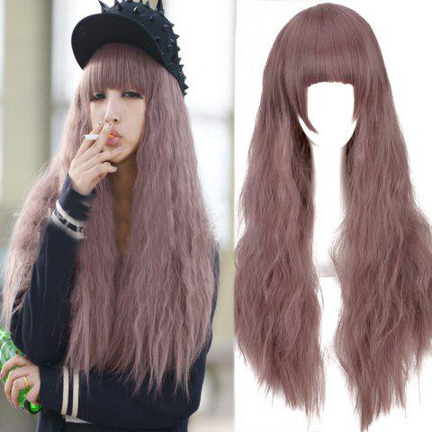 Best Long Neat Bang Fluffy Water Wavy Synthetic Cosplay Wig COLORMIX