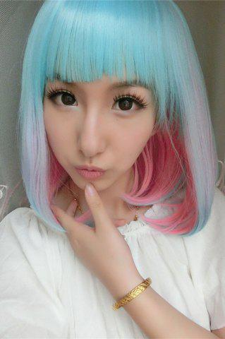 Fancy Medium Side Bang Colored Straight Lolita Synthetic Wig