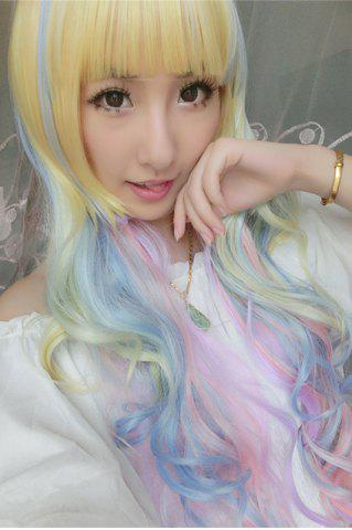 Store Rainbow Long Side Bang Wavy Cosplay Lolita Synthetic Wig