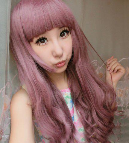 Long Full Bang Curly Cosplay Lolita Synthetic Wig - Colormix