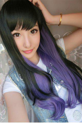 New Long Double Color Side Bang Slightly Wavy Synthetic Cosplay Wig - BLACK AND PURPLE  Mobile