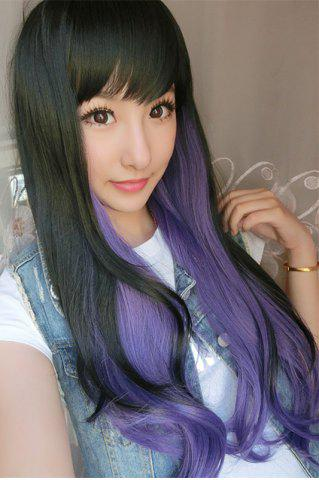 Outfits Long Double Color Side Bang Slightly Wavy Synthetic Cosplay Wig - BLACK AND PURPLE  Mobile