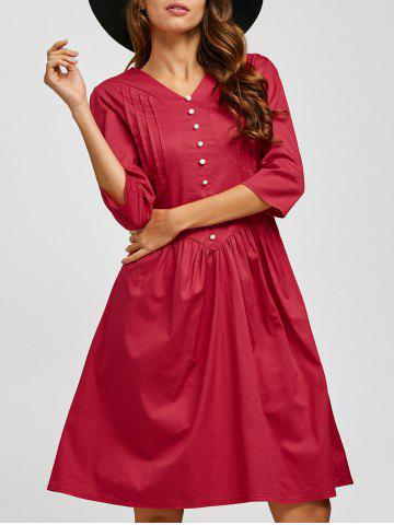 Hot V Neck Swing Vintage Dress