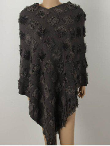 Latest Asymmetric Fringed Knit Cape Sweater