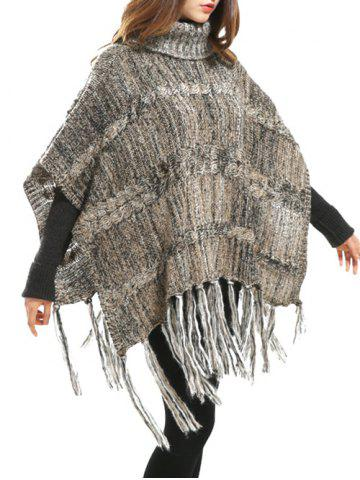Fashion Turtleneck Asymmetric Fringed Knit Cape Sweater