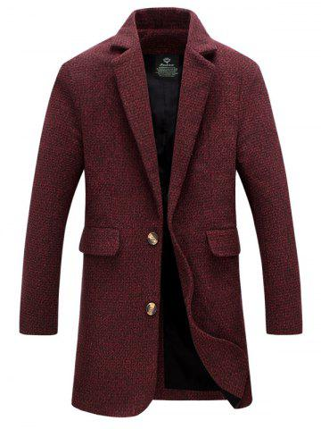 Best Flap Pocket Lapel Tweed Wool Mix Coat DARK RED XL