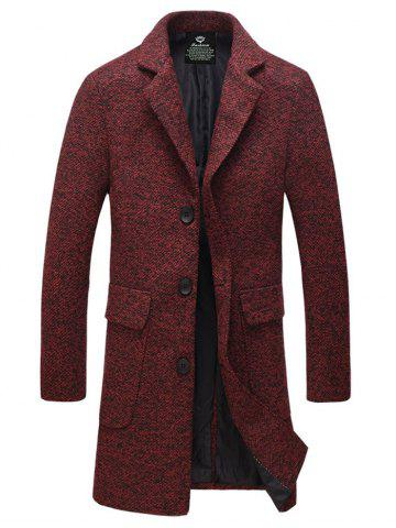 Chic Lapel Flap Pocket Tweed Wool Mix Coat