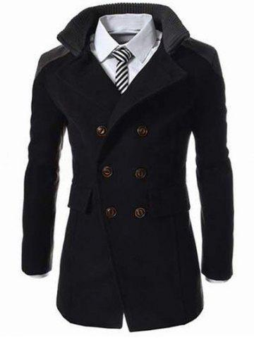 Knitted Collar Double Breasted Spliced Wool Mix Coat - Black - 2xl