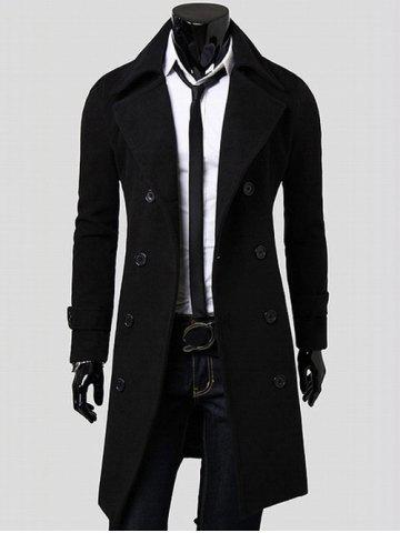 Discount Double Breasted Overcoat with Side Pockets BLACK M