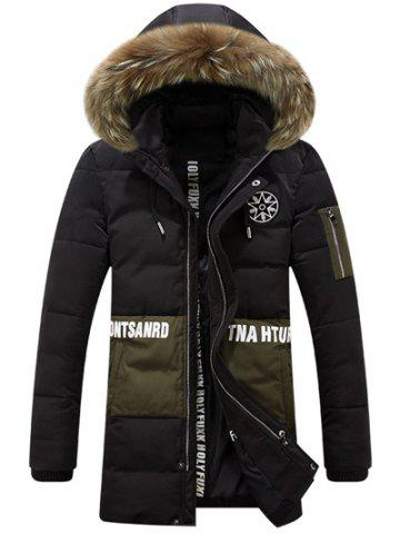 Buy Printed Faux Fur Hooded Paneled Zippered Padded Coat