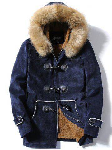 Unique Faux Fur Hooded Flocking Toggle Coat CADETBLUE 3XL