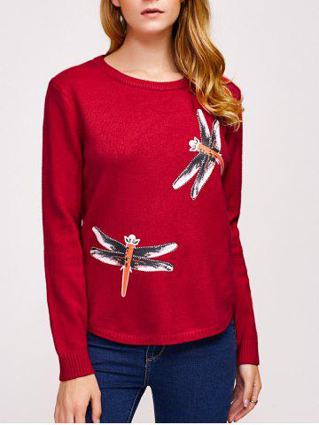 New College Style Rhinestoned Dragonfly Pattern Knitwear