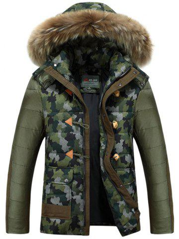 Shop Camo Insert Faux Fur Hooded Padded Jacket ARMY GREEN M