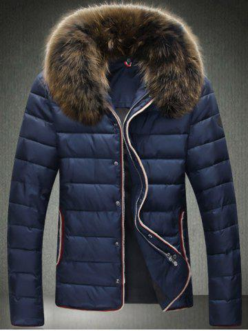 Contrast Trim Zip Up Faux Fur Collar Padded Jacket - Cadetblue - M