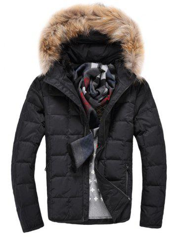 Cheap Faux Fur Knitted Hood Zippered Quilted Jacket BLACK L