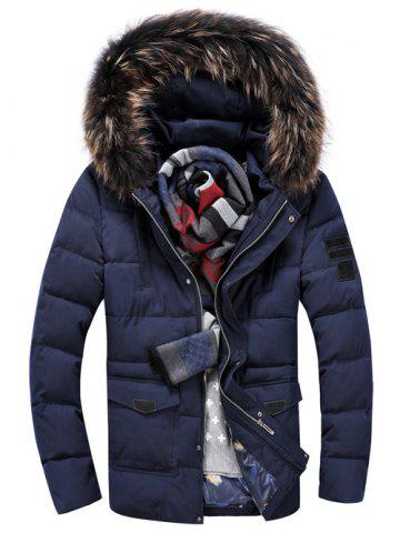 Buy Pocket Front Zippered Faux Fur Hooded Padded Jacket CADETBLUE XL