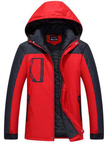 Zippered Two Tone Hooded Padded Jacket - Red - 2xl