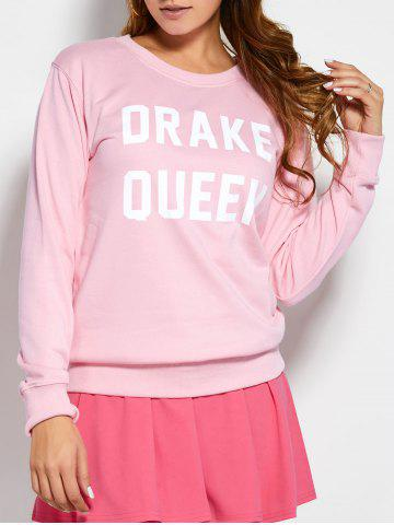 Chic Pullover Sweatshirt With Text PINK M