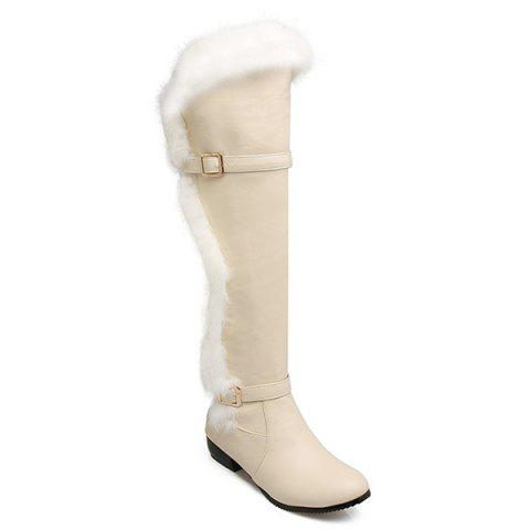 Latest Faux Fur Double Buckle Thigh Boots GLITTER CREAMY WHITE 39