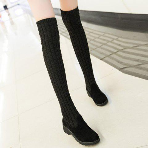Fancy Splicing Wedge Dark Colour Thigh Boots BLACK 39