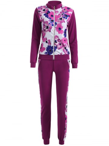 Cheap Long Sleeve Floral Printed Sweat Suit Set
