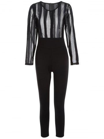Online Long Sleeve Sheer Mesh See-Through Jumpsuit