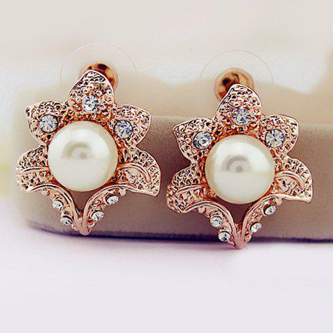Outfit Artificial Pearl Rhinestone Flower Earrings