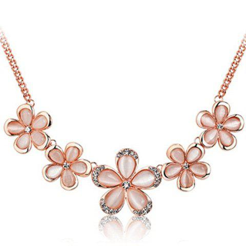 Outfits Artificial Opal Rhinestone Floral Pendant Necklace